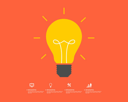 Idea bulb. Light bulb icon with concept of idea vector illustration isolated on white background.