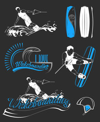 Set of Vector Logos Sport Wakeboarding