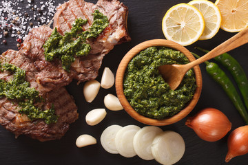 Argentine cuisine: grilled beef steak with chimichurri sauce. Horizontal top view
