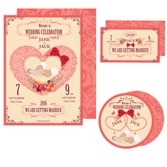 Vector illustration of wedding cards. A set of invitations for your wedding.