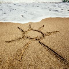 Sun painted on the beach
