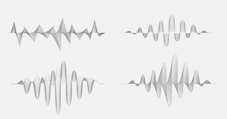 Vector halftone sound waves set. Music Digital Equalizer.