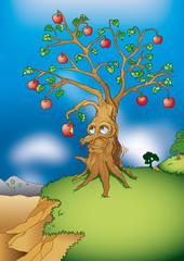 An apple tree with faceeating his own fruits