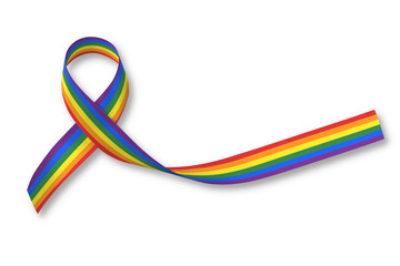 Rainbow ribbon awareness isolated on white background, clipping path: Symbolic color logo icon for equal rights in human people love and marriage social equality of LGBT community/ people concept