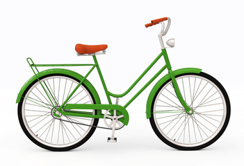 Green bicycle, Bike theme elements,  Retro bicycle for city, Bike isolated on white background, Bike illustration - 3d Render