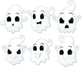 Set of Halloween ghost cartoon