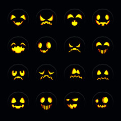Set of halloween pumpkin face