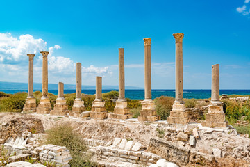 Al Mina in Tyre, Lebanon. It is located about 80 km south of Beirut and has led to its designation as a UNESCO World Heritage Site in 1984.