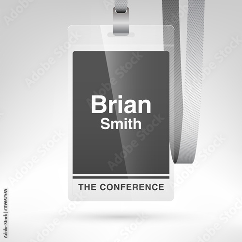 Conference Badge With Name Tag Placeholder Blank Badge Template In - Conference badge template