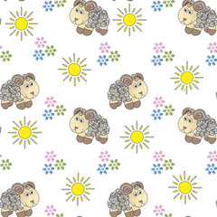 Background of lambs and flowers.
