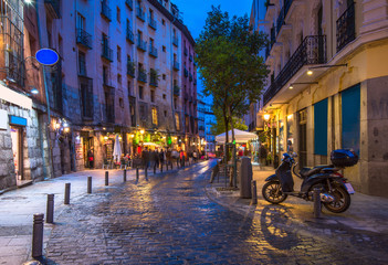 Night view of old street in Madrid. Spain