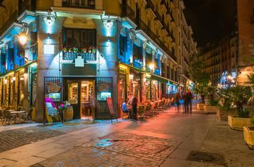 Night view of old street in Madrid. Spain