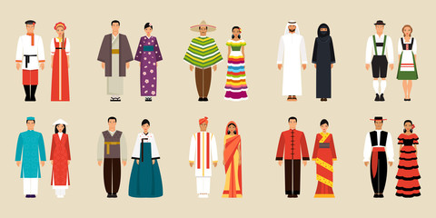 Collection of national costumes. Vector illustration