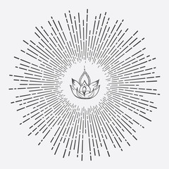Hand Drawn Vector Lotus Flower