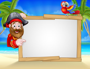 Cartoon Pirate Beach Background