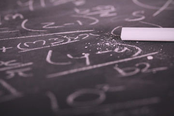 Close up of blackboard with maths equations Vintage Retro Filter