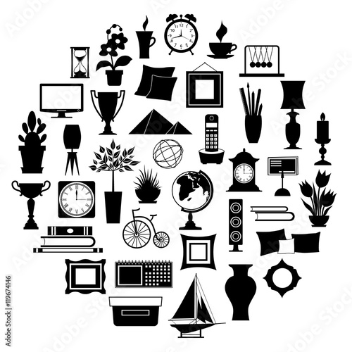 Silhouette Of Home Decor Set Of Accessories Icons And Souvenirs