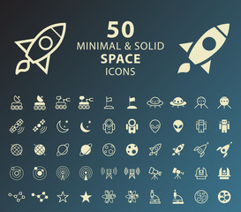 Set of 50 Minimal and Solid Space Icons. Vector Isolated Elements.