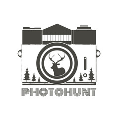 Vector vintage hipster camera with deer silhouette. Photohunt. Stylish inspirational typography illustration.