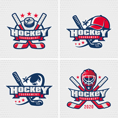 Set of Ice Hockey badge, logo, emblem template