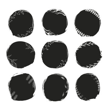 Hand Drawn splashes with floral elements, ink style. Vintage abstract backgrounds