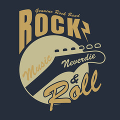 Rock and roll graphic for t-shirt,tee design,vector illustration