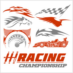Set of racing stickers. Monochrome vector illustrations.