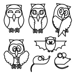 owl, owl with coffee, mouse, rat, bat, line icons
