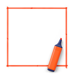 Highlighter with hand drawn frame.Orange.3D rendering.Top view.