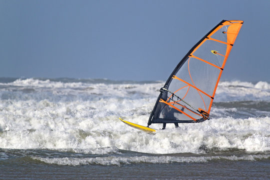 windsurfer in waves