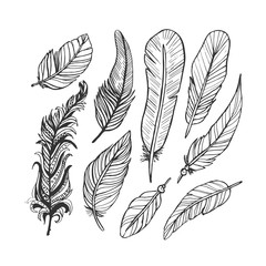 Vintage feather ink vector set. Hand-drawn doodle line illustration.