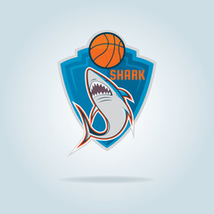 Basketball logo template with shark,vector illustration