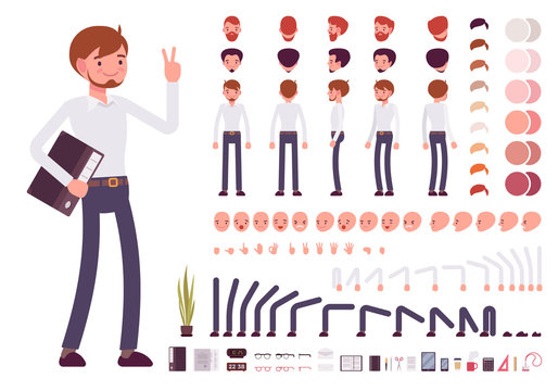 Male clerk character creation set. Build your own design. Cartoon vector flat-style infographic illustration