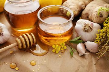 Honey, ginger, lemon and garlic