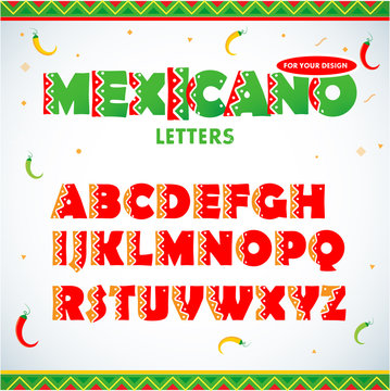 Mexican letters for  for advertising, title or logo design. Modern font. Mexican style Latin alphabet letters. Alphabet. Isolated vector illustration.