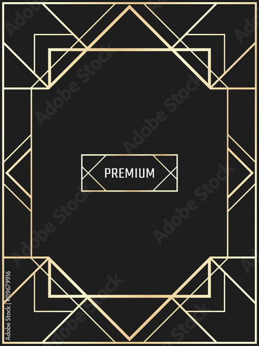 Vector Geometric Frame In Art Deco Style Rectangle Vector Abstract