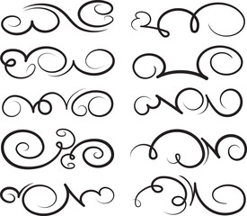 Set of ten calligraphic decorative vector swirls