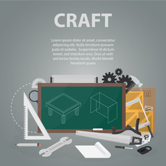 Vector flat banner of craft and workshop for website and apps. Business concept poster of making and working. Set of instruments and tools.