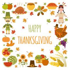 Thanksgiving day icon set. Flat style