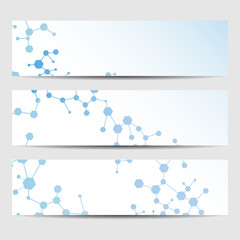 Abstract geometric banners molecule and communication. Science and technology design, structure DNA, chemistry, medical background, business and website