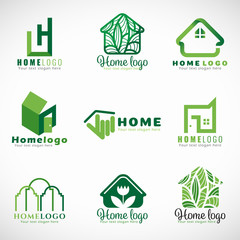 Green home logo ( nature and modern concept ) vector set design