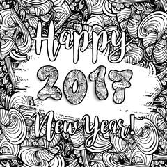 Happy New Year 2017 hand drawn celebration background. Xmas doodles. Vector illustration