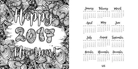 Happy New Year 2017 hand drawn calendar template.