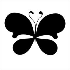Silhouette of cute cartoon butterfly