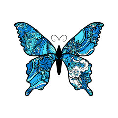 Doodle stylized blue Butterfly. Hand Drawn vector illustration isolated on white background.