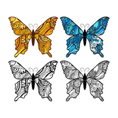 Doodle stylized Butterfly set, black and colorful.