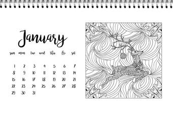 Desk calendar template for month January. Week starts Monday