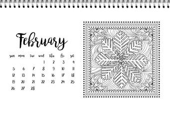 Desk calendar template for month February. Week starts Monday