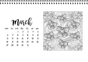 Desk calendar template for month March. Week starts Monday