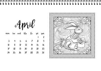 Desk calendar template for month April. Week starts Monday